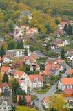 Bird view over Wernigerode, Garz , Saxony-Anhalt. Bird view over residential area of Wernigerode town, Garz mountains, Saxony-Anhalt, Germany Royalty Free Stock Photography