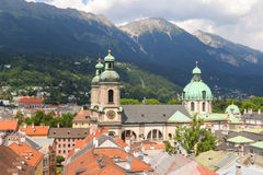 Bird view of roofs and buildings in Innsbruck city, Austria Stock Images