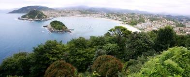 Bird view of San Sebanstian city and sea Royalty Free Stock Photos