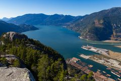Scenic landscape of the Howe Sound in Squamish royalty free stock photos