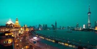 Bird view at Shanghai Bund European-style buildings of night Stock Image