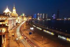 Bird view at Shanghai Bund European-style buildings of night Stock Images