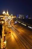Bird view at Shanghai Bund European-style buildings of night Royalty Free Stock Image