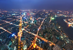 Bird view at Shanghai China. Royalty Free Stock Photo