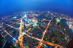 Bird view at Shanghai China. Skyscraper under construction in foreground Royalty Free Stock Photography