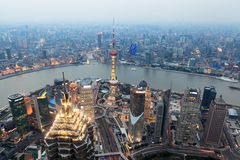 Bird view of shanghai at dusk Stock Images