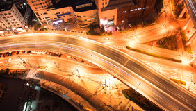 Bird view at Shanghai interchange viaduct bridge of night Stock Photos