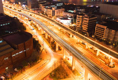 Bird view at Shanghai interchange viaduct bridge of night Royalty Free Stock Photos