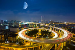 Bird view of Shanghai Nanpu Bridge,a spiral bridge at night Stock Photos