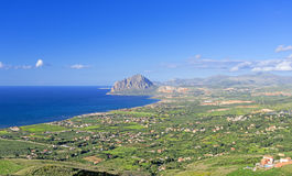 Bird view on Sicily coast Stock Photos