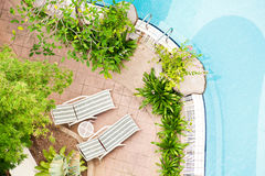 Bird-view swimming pool Stock Photos