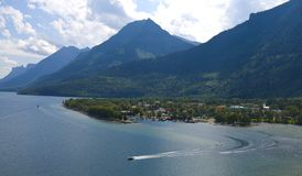 Bird view of waterton village Stock Photography