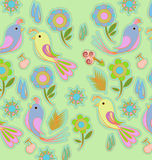 Bird wallpaper. With flower pattern Royalty Free Stock Image