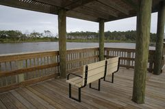 Bird-watch station among marshland in the Big Talbot Island State Park, Florida, USA. Bird-watch station among marshy ground in the Big Talbot Island State Park stock image
