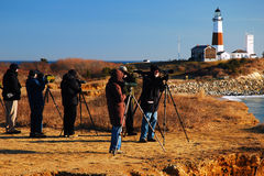 Bird Watchers at Montauk Point royalty free stock images