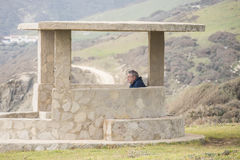 Bird-watching di Guadalmesi, parco naturale dello stretto, Cadice, Spagna Immagini Stock