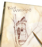 Bird watching - drawing on sketchpad. Two birds on a tree branch, drawing on sketchpad royalty free illustration
