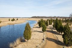 Bird watching place in lake Kanieris, Latvia. 2018 royalty free stock image