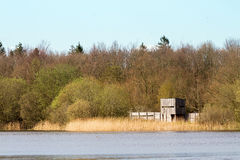 Bird watching. Site at a lake in the Netherlands Royalty Free Stock Photo