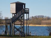 Bird watching tower. Bird watching birding wildlife observation tower in a nature park Stock Photo
