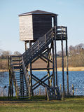 Bird watching tower. Bird watching birding wildlife observation tower in a nature park Royalty Free Stock Image