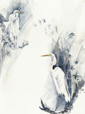 Bird white heron egret watercolor painting illustration isolated on white background royalty free illustration