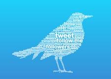 Bird words 2. Few words of the social blogging draw a bird Royalty Free Stock Photos