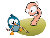 Bird and worm. Funny illustration of small bird and big worm Stock Image