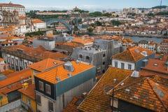 Bird& x27; oko widoku stary śródmieście Porto, Portugalia Podróż Obrazy Royalty Free