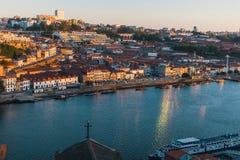 Bird& x27;s-eye view of Douro river, Porto Royalty Free Stock Photos
