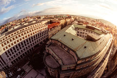 Bird& x27;s eye view of Prague Old Town with red roofs. Czech Republi Stock Photos