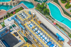 Bird& x27;s eye view of Water treatment plants on swimming pool Royalty Free Stock Photos