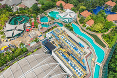Bird& x27;s eye view of Water treatment plants on swimming pool Stock Photography