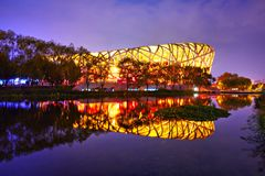 Bird's Nest and reflection Royalty Free Stock Images