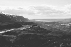 Bird's Eye View of Mountain in Grayscale Photography Stock Image