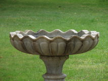 Birdbath. Old marble birdbath on green grass blur background Royalty Free Stock Images