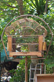 Birdcage. Antique style metal birdcage at pole Royalty Free Stock Images