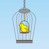 Birdcage Bird. Hanging birdcage with yellow bird inside Royalty Free Stock Photography