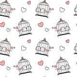 Birdcage bonito bonito cor-de-rosa branco preto dos desenhos animados com ilustração sem emenda do fundo do teste padrão dos cora Imagens de Stock Royalty Free