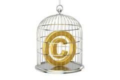 Birdcage con il simbolo del copyright dentro, rappresentazione 3D Immagine Stock
