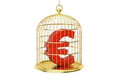 Birdcage with Euro currency symbol inside, 3D rendering Royalty Free Stock Photo