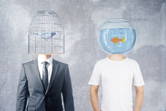 Birdcage and fishtank head Stock Photos
