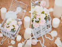 Birdcage with flowers Royalty Free Stock Photography
