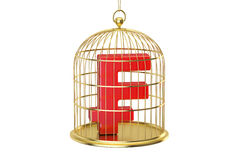 Birdcage with franc currency symbol inside, 3D rendering Stock Photography