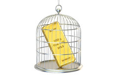 Birdcage with golden bar inside, 3D rendering Royalty Free Stock Image