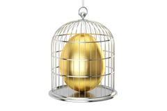 Birdcage with golden egg inside, 3D rendering Stock Image