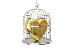Birdcage with golden heart, 3D rendering Royalty Free Stock Image