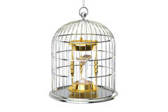 Birdcage with hourglass inside, 3D rendering. On white background Royalty Free Stock Images