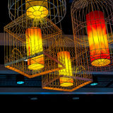 Birdcage lamp. The intricate hanging lamp in birdcage style Royalty Free Stock Photos