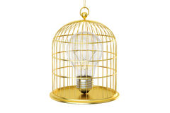 Birdcage with a lightbulb inside, 3D rendering Royalty Free Stock Image